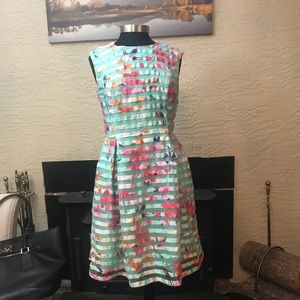 Watercolor Green and Floral print stripe dress